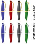 pens of different colors with... | Shutterstock .eps vector #123195334