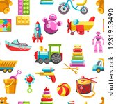 kid toys vector icons seamless... | Shutterstock .eps vector #1231953490
