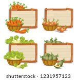 set of organic vegetable on... | Shutterstock .eps vector #1231957123