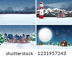snow landscape at night... | Shutterstock .eps vector #1231957243