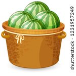 a basket of watermelon... | Shutterstock .eps vector #1231957249
