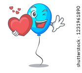 with heart party balloon blue... | Shutterstock .eps vector #1231961890