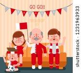 Happy Family Cheering Sport...