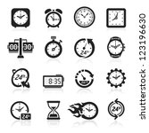 clocks icons. vector... | Shutterstock .eps vector #123196630