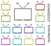 tv icon in multi color. simple...