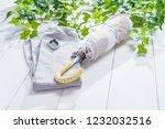 parasol on wooden board   Shutterstock . vector #1232032516