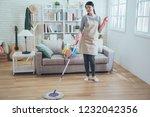 female housekeeper wearing... | Shutterstock . vector #1232042356