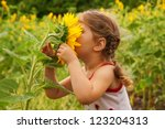 Child And Sunflower  Summer ...