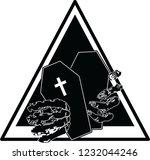 coffin with skull hand | Shutterstock .eps vector #1232044246