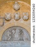 old plaque depicting angel and... | Shutterstock . vector #1232054260