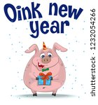 christmas card with pig  | Shutterstock .eps vector #1232054266