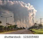 smoke from coal power plant ... | Shutterstock . vector #123205483