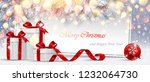 christmas card with gifts and... | Shutterstock .eps vector #1232064730