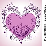 Floral Valentine background with heart for design, vector - stock vector