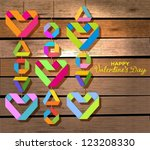 Background with color paper hearts over wood background for Valentine design, vector - stock vector