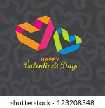Background with color paper hearts for Valentine design, vector - stock vector