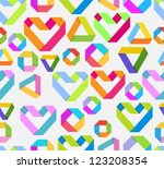 Seamless bright background with paper heart and geometrical figures in origami style for Valentine's design, vector - stock vector