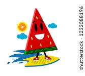 funny  watermelon surfing.... | Shutterstock .eps vector #1232088196
