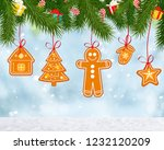 christmas background with tree... | Shutterstock . vector #1232120209