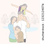 happy family on vacation.... | Shutterstock .eps vector #1232124076
