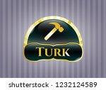 golden emblem or badge with... | Shutterstock .eps vector #1232124589