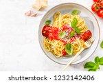 pasta spaghetti with tomato...   Shutterstock . vector #1232142406