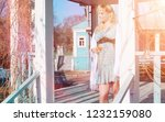 pregnant girl on a walk in the...   Shutterstock . vector #1232159080