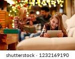 cute little girl with... | Shutterstock . vector #1232169190