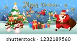 santa claus with friend.cute... | Shutterstock .eps vector #1232189560