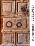 Old wooden door background  (Holy Sepulcher Church,Jerusalem) - stock photo
