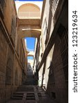 Alley street in the Arab Quarter of the Old City of Jerusalem - stock photo