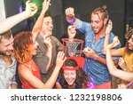group of friends playing funny... | Shutterstock . vector #1232198806