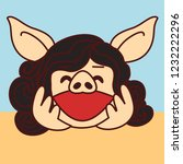 emoji with joyful laughing pig... | Shutterstock .eps vector #1232222296