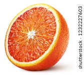 ripe half of blood red orange... | Shutterstock . vector #1232227603