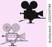 retro movie camera vector... | Shutterstock .eps vector #1232245789