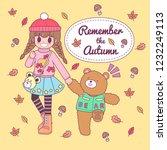 vector character cute girl... | Shutterstock .eps vector #1232249113