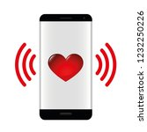 smartphone with love message... | Shutterstock .eps vector #1232250226
