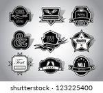 black and white vector label... | Shutterstock .eps vector #123225400