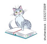 kitty reads a book with glasses. | Shutterstock .eps vector #1232272009
