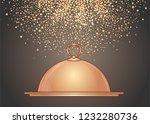 hand drawn golden tray for hot...   Shutterstock .eps vector #1232280736