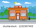 Stock vector cafeteria cafeteria building with free tables cafeteria on the background of the urban landscape 1232307403
