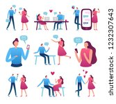 online dating couple. man and... | Shutterstock .eps vector #1232307643