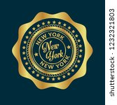 gold button with new york text... | Shutterstock .eps vector #1232321803