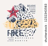 slogan with leopard graphic... | Shutterstock .eps vector #1232343583