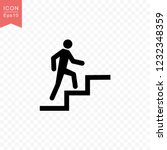 man climbing stairs icon simple ...
