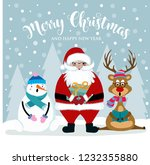 christmas card with santa ... | Shutterstock .eps vector #1232355880