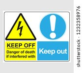"plate  ""keep off. danger of... | Shutterstock .eps vector #1232358976"