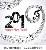 musical happy new year... | Shutterstock .eps vector #1232389999