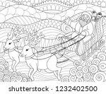 lines art of santa claus riding ... | Shutterstock .eps vector #1232402500