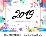 2019 merry christmas and happy... | Shutterstock . vector #1232412520